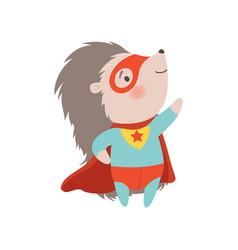 Cute hedgehog wearing superhero costume and mask vector