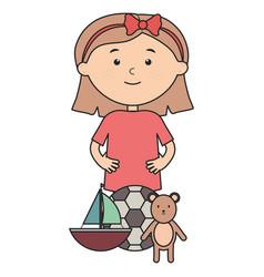 Cute little girl with bear teddy and sailboat vector