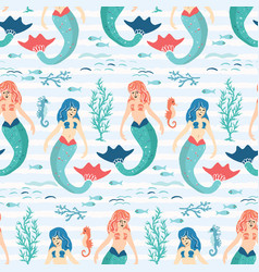 cute magical blue mermaid seamless pattern hand vector image