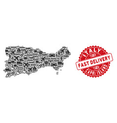 Delivery collage capri island map with textured vector