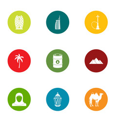 desert trip icons set flat style vector image