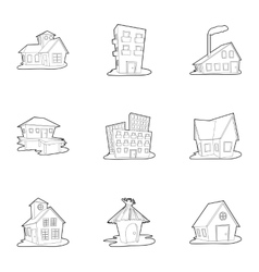 Dwelling icons set outline style vector