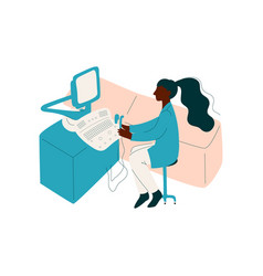 female african american doctor working at office vector image