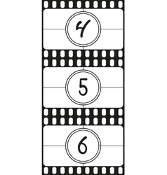 Film countdown numbers part 2 vector image