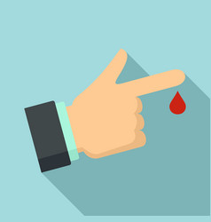Finger drop blood icon flat style vector