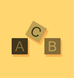 Flat icon design toy blocks in sticker style vector