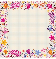 floral border with birds vector image vector image