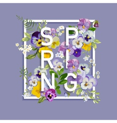 Floral Spring Graphic Design - with Pansy Flowers vector