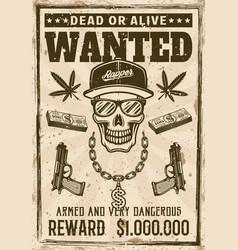 gangsta rapper skull in snapback cap wanted poster vector image