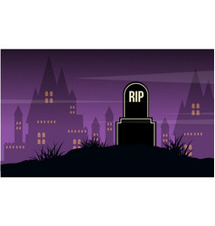 Graveyard and castle landscape halloween day vector