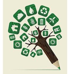Green world concept pencil tree vector