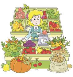 Greengrocer in a market vector