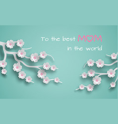 Greeting card decorated branches of cherry vector