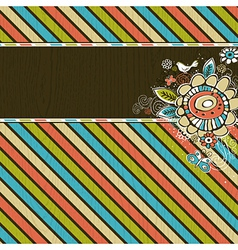 Hand draw flowers on striped grunge wooden backgro vector