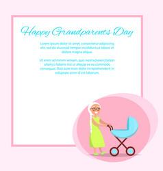 Happy grandparents day senior lady with pram vector