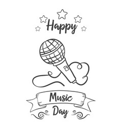 Happy music day theme background vector
