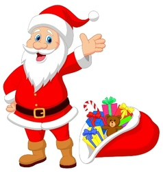 Happy Santa Clause cartoon with gift vector image vector image