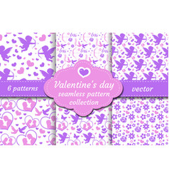 happy valentine s day seamless pattern set vector image