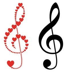 Hearts violin clef vector