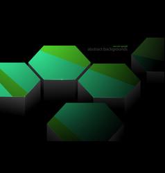 Hexagonal green and metal shape scene vector