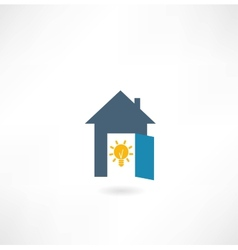 house with a light bulb icon vector image