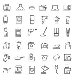 household appliances icon set black sign on white vector image