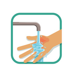 Human s burned hand under cool running water vector