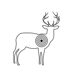 icon of deer silhouette with target vector image