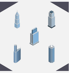 isometric construction set of urban building vector image