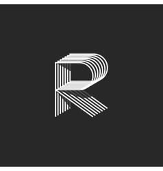 Isometric letter r logo mockup modern monogram vector