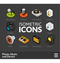 Isometric outline icons set 6 vector image vector image