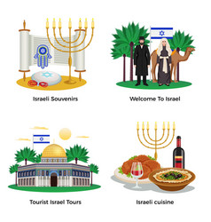 israel concept icons set vector image