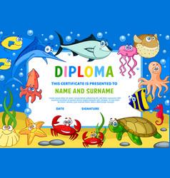 Kids diploma certificate with underwater animals vector