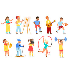 Kids hobbies young athletes musicians vector