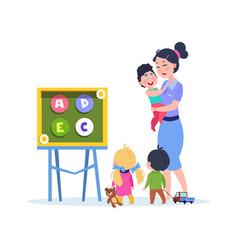 kids study letters little babies in kindergarten vector image