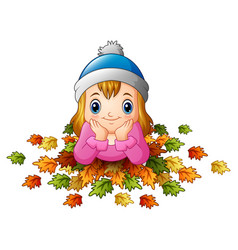 Little happy girl with autumn leaves vector
