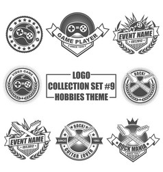 Logo collection set with hobbies theme vector