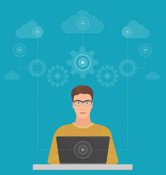 man big data software engineer programmer vector image