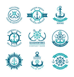 Marine logo nautical emblem with ship vector
