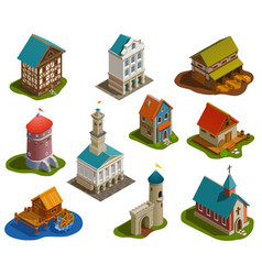 Medieval buildings isometric set vector
