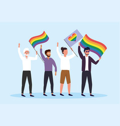 men with rainbow flags to community freedom vector image