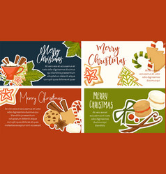 merry christmas winter holidays symbols and text vector image