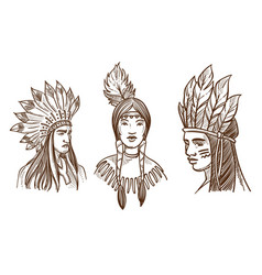 native americans isolated sketch portraits of vector image