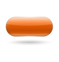Oval glass orange button web 3d icon vector