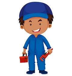 Plumber holding toolbox and wrench vector image