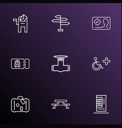 Public skyline icons line style set with disabled vector