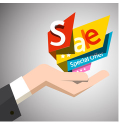 sale paper colorful labels in open human hand vector image