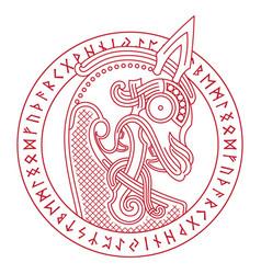 scandinavian design dragon head bow figure vector image