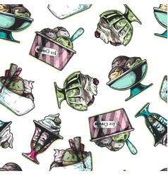 seamless pattern with ice cream in vintage vector image
