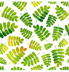 Seamless pattern with watercolor leaves vector